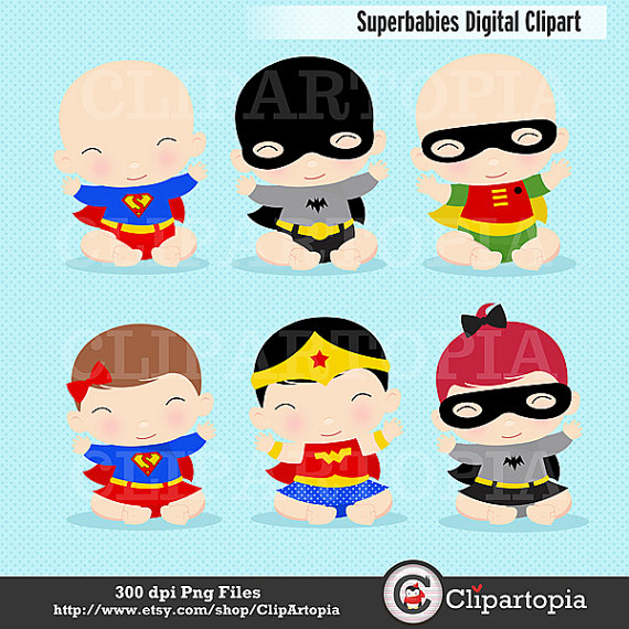 Superbabies Digital Clipart / Superhero Baby Clipart For Personal.