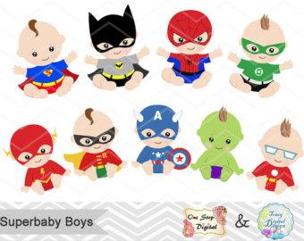 Digital Superhero Baby Girls Clipart, Superhero Baby Clip Art.