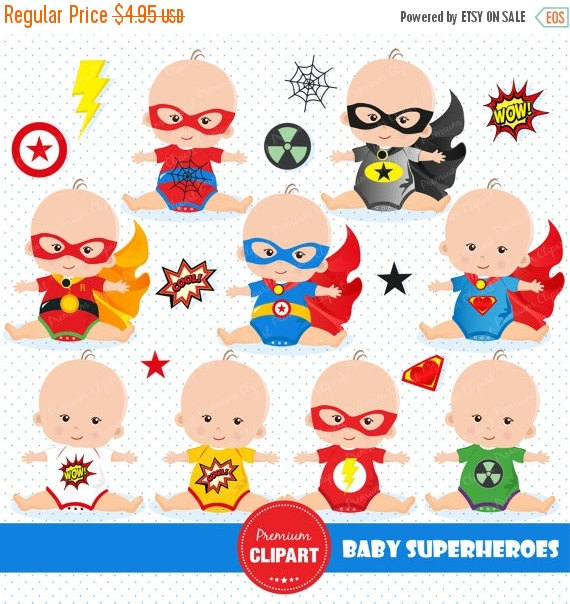 80% OFF SALE Superheroes baby clipart by PremiumClipart on Etsy.