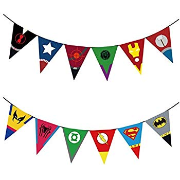 Superhero Avengers and Justice League Set of 12 Party Banners with 2  Strings Included.