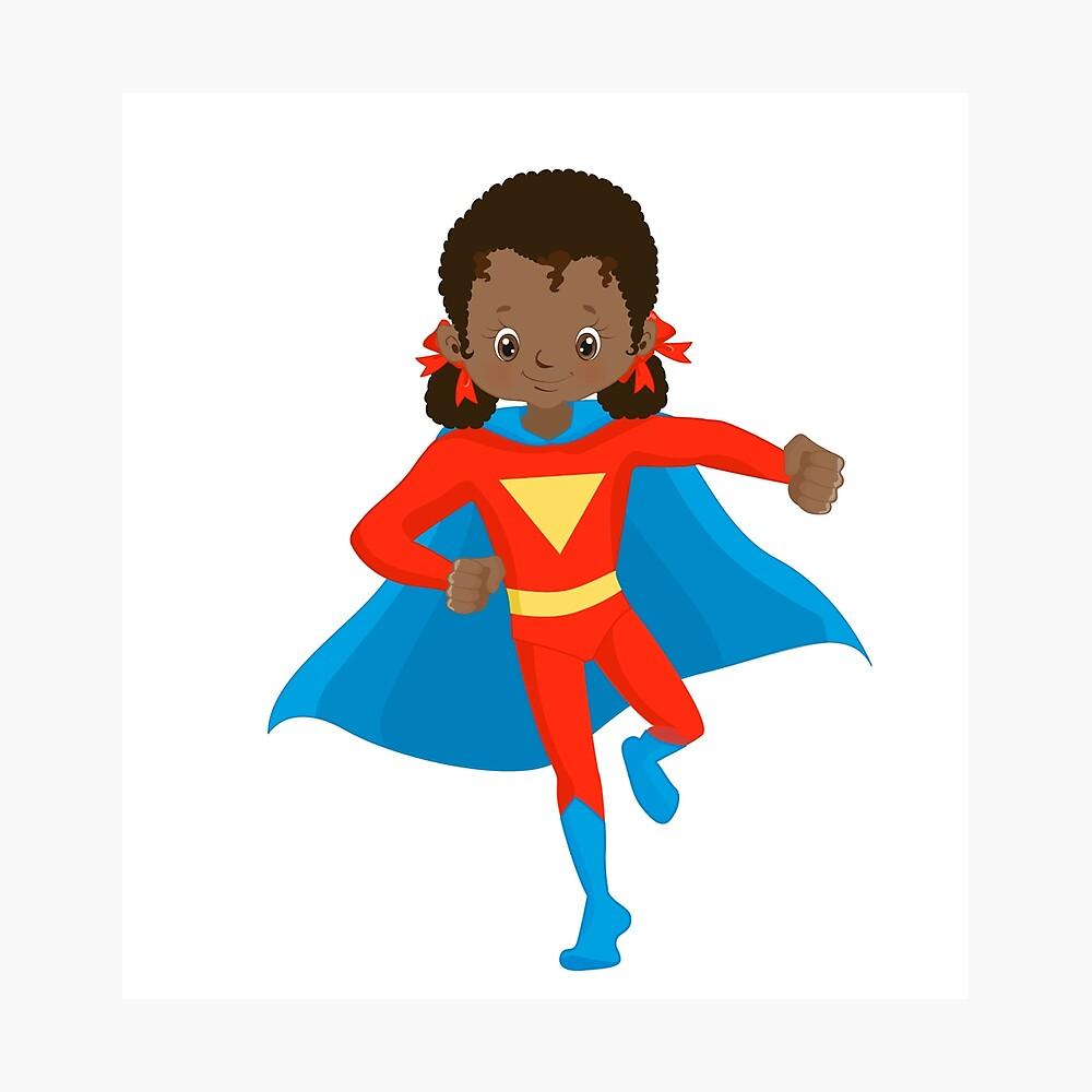 African American Girl Super Hero Kids Black Child.