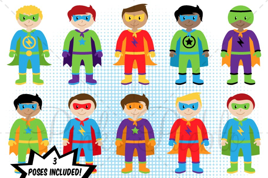 Boy Superhero Clipart & Vectors.