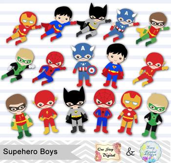 24 Superhero Boys Digital Clip Art, Little Boy Superhero Clipart, 00190.