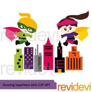 Running superhero girl clip art.