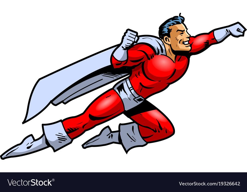 Flying superhero clipart cartoon.