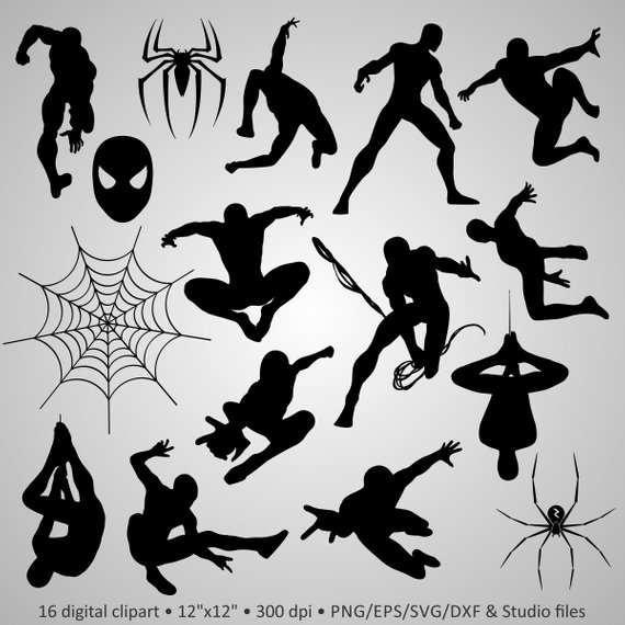 Buy 2 Get 1 Free! Digital Clipart Silhouettes Spiderman.