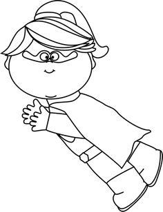 Superhero Clipart Black And White For Teachers.