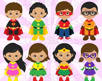 Superhero Girl Digital Clipart, Superhero Girl Clipart, Girl.
