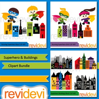Superhero and Buildings clipart bundle (3 packs).