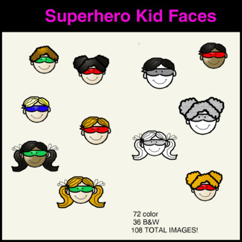 Kid Faces Superhero Clipart.