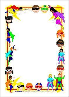 FREE superhero editable border paperSuperhero A4 page.