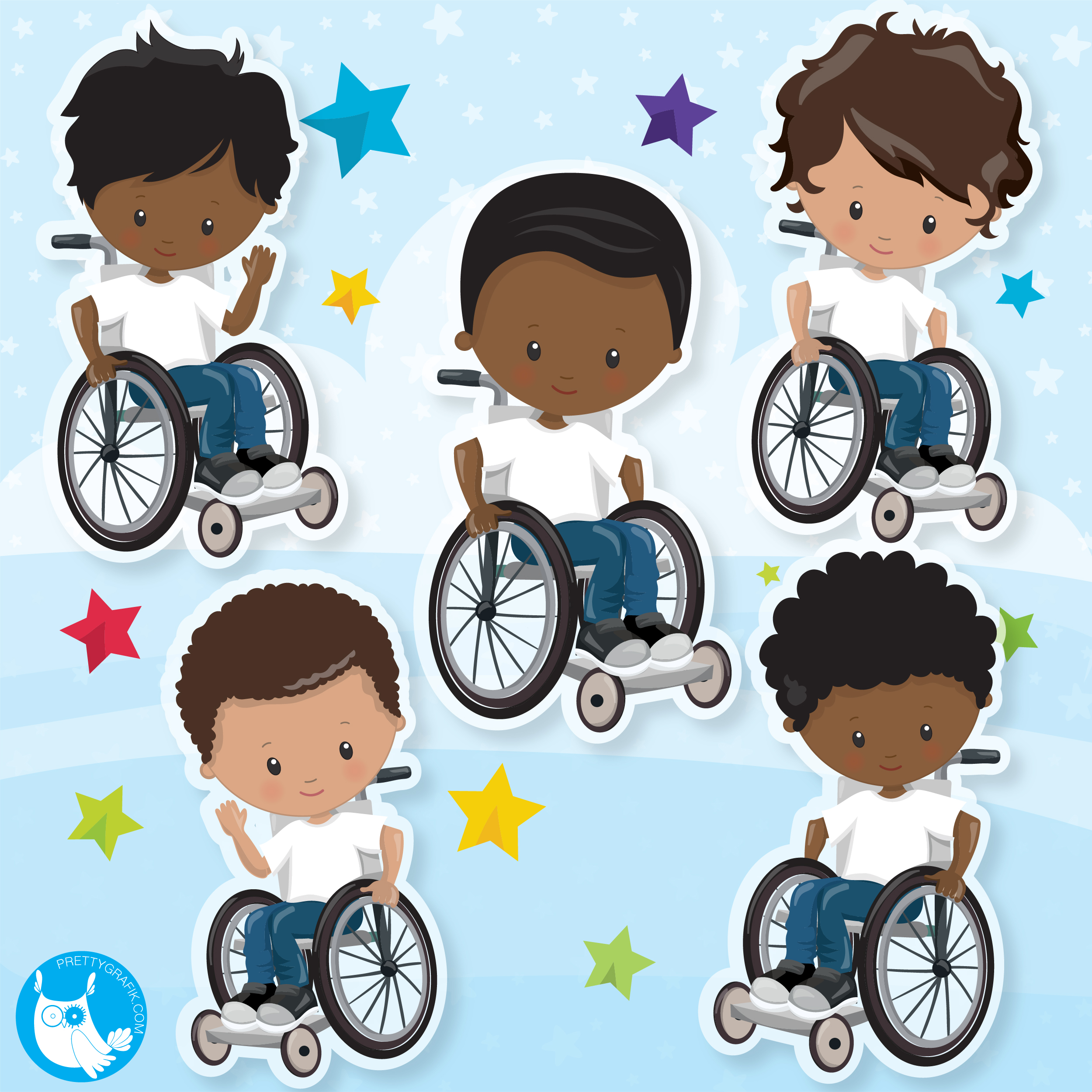 Boys on wheelchair clipart.