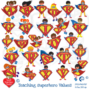 Superhero letters Clipart, superhero alphabets and values! Teach values  AMB.