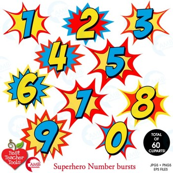 Superhero Clipart, Letters and Numbers MEGA BUNDLE, AMB.