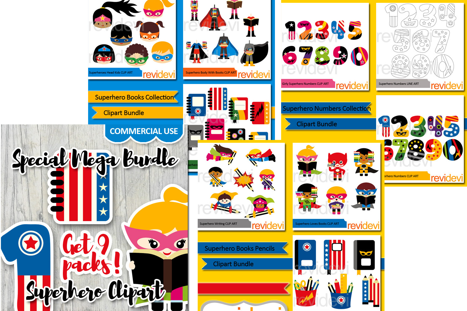 Superhero Back to school graphics big bundle.