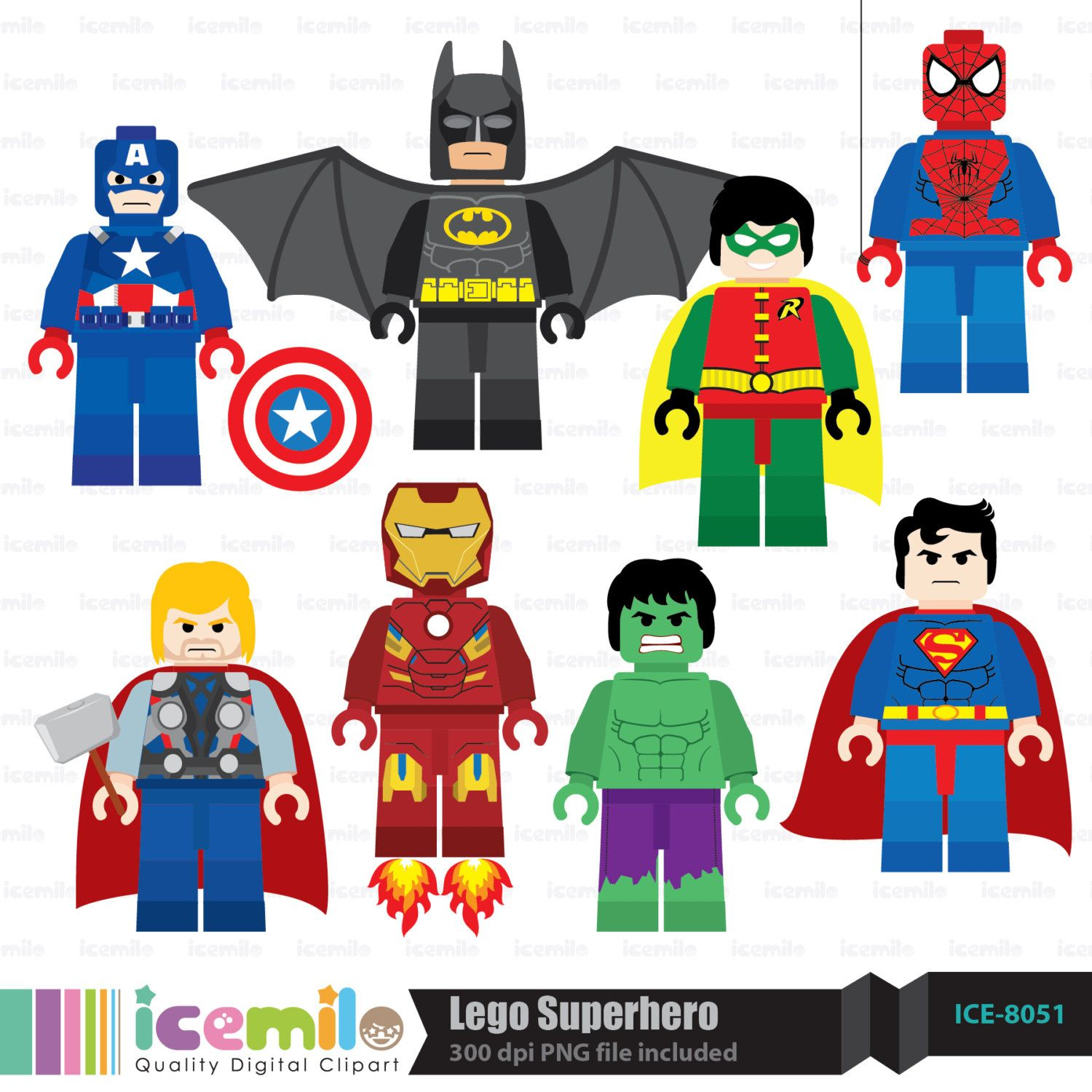 Lego Clip Art Free Lego Superhero Digital Clipart in 2019.