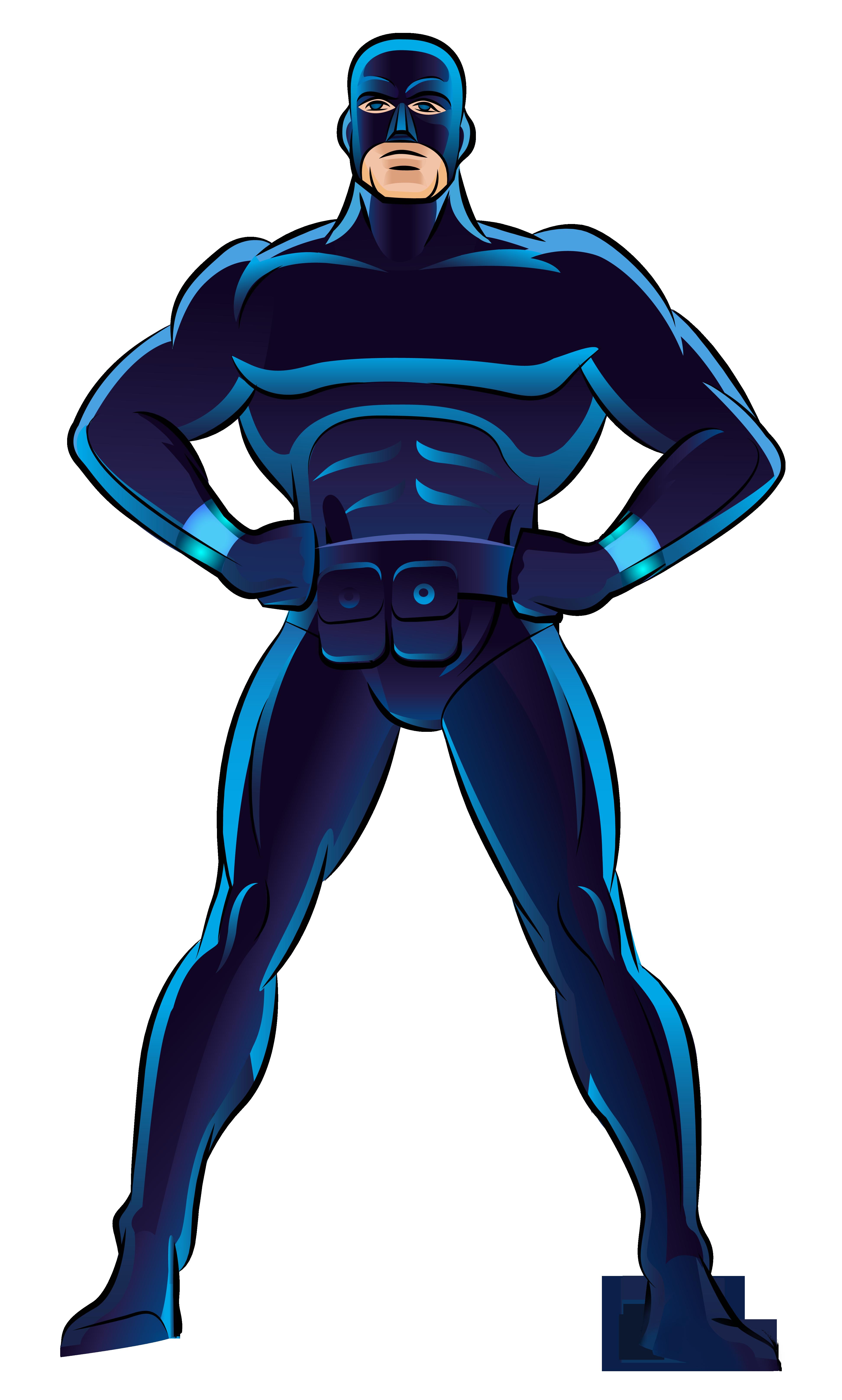 Blue Superhero PNG Clip Art.