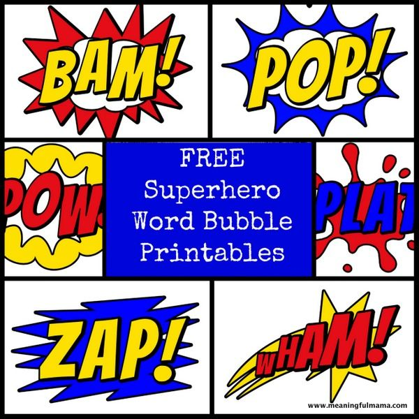 Free Superhero Word Bubble Printable.