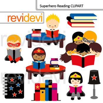 Reading clipart: Superheroes read book clip art.