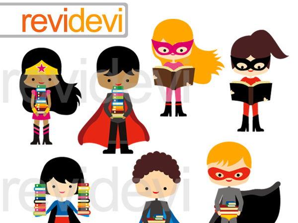 Superhero with books Clipart Graphcis.