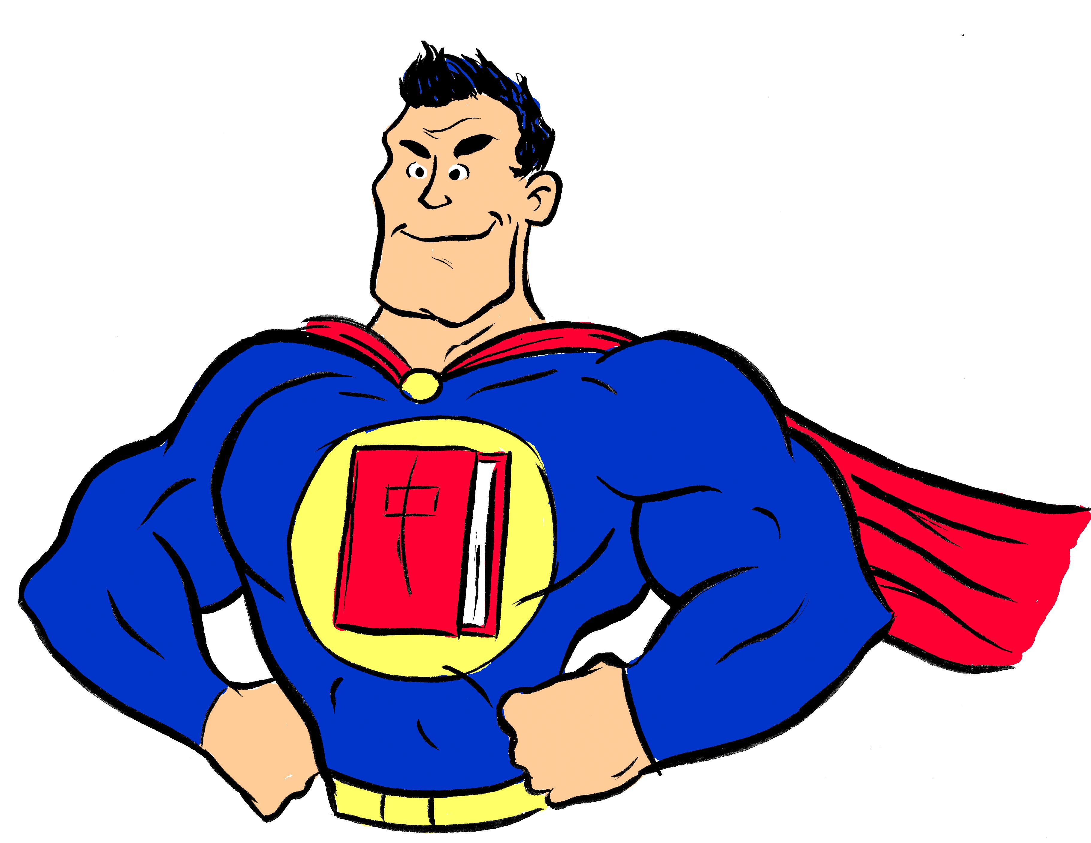 Superhero Reading Cliparts.