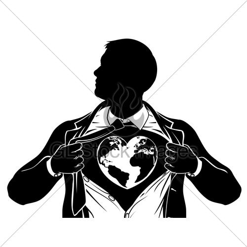Globe Heart Business Superhero Tearing Shirt Chest · GL.