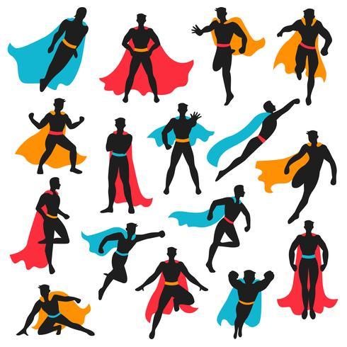 Set Of Black Superhero Silhouettes.