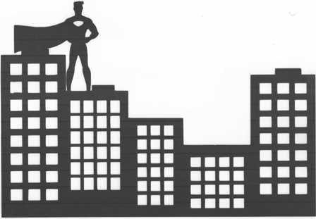 Superhero skyline silhouette.