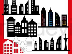 Superhero Skyline Buildings Clip art.