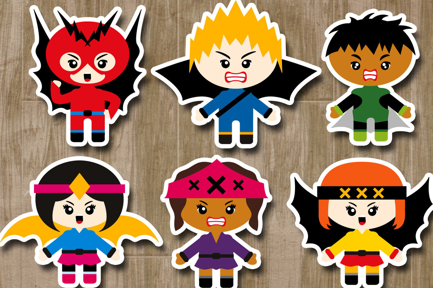Superhero Villains Clipart Graphics (angry kids) By.