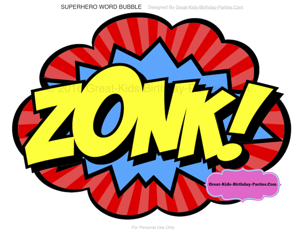 Superhero words superhero printables clip art 4.