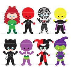 Superheroes And Villains Clipart.