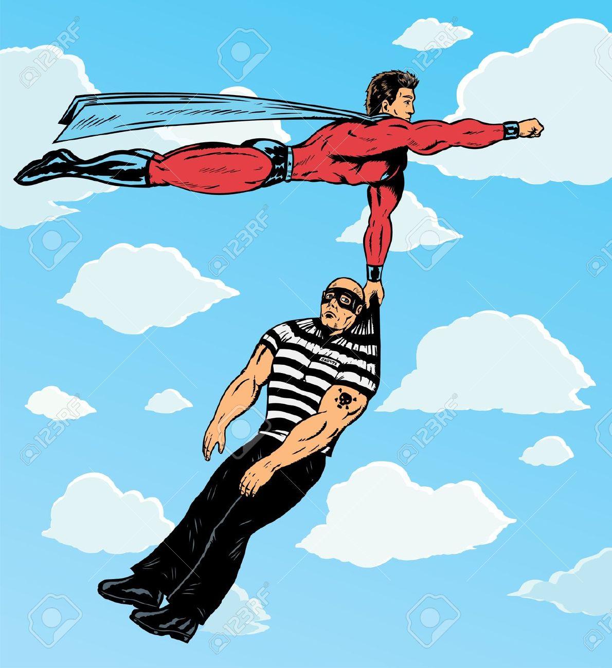 Superhero Capturing Villain. Royalty Free Cliparts, Vectors, And.