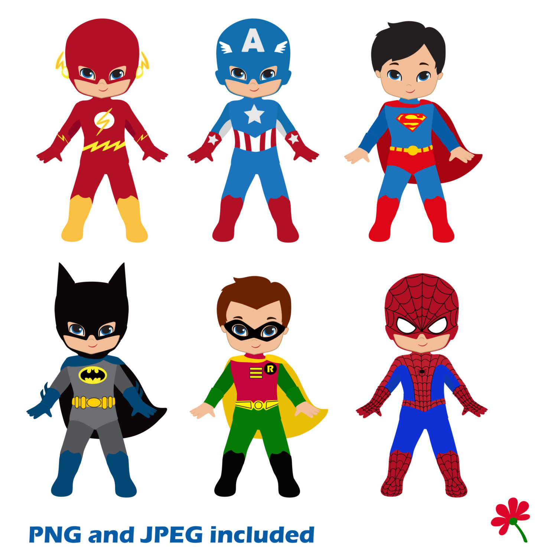 Boy Superhero Clip Art / Little Boys Superheroes / Superboys.