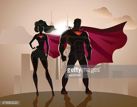 Superhero Couple: Male and female superheroes, posing in.