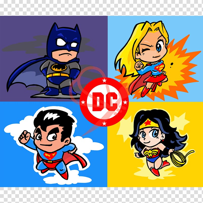 Superman Wonder Woman Batman Cartoon, superman transparent.