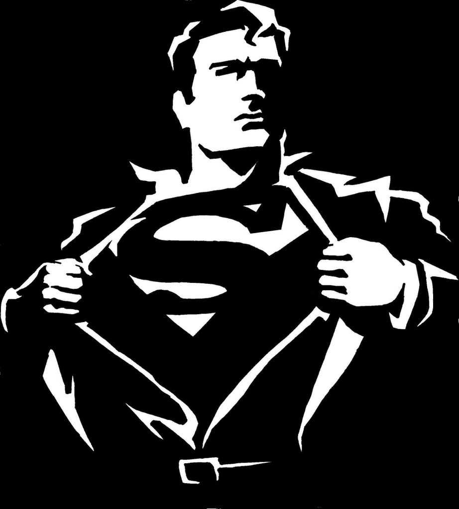 Nice Superman iconography here, in black and white.