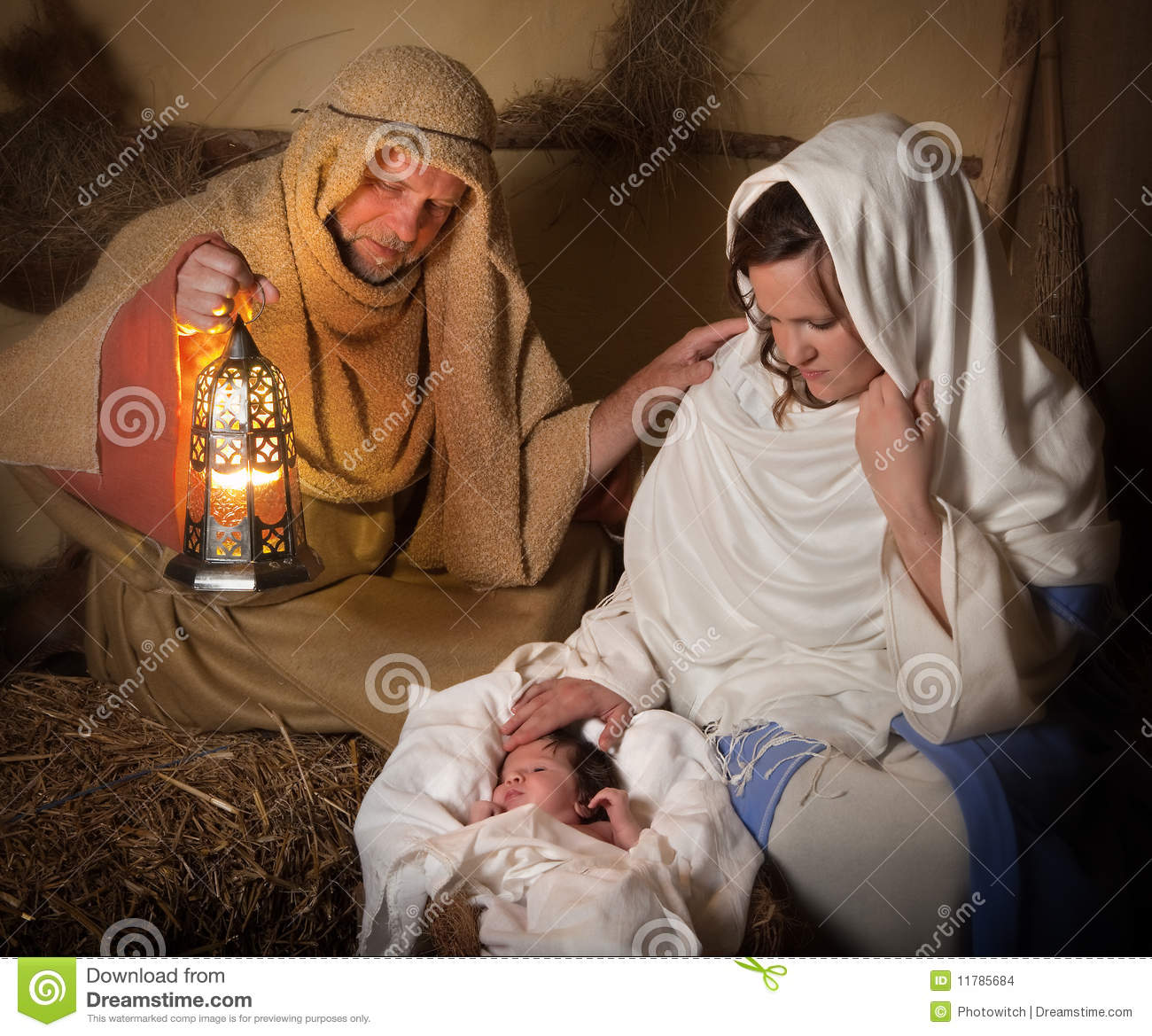Nativity Scene Alive Stock Images.