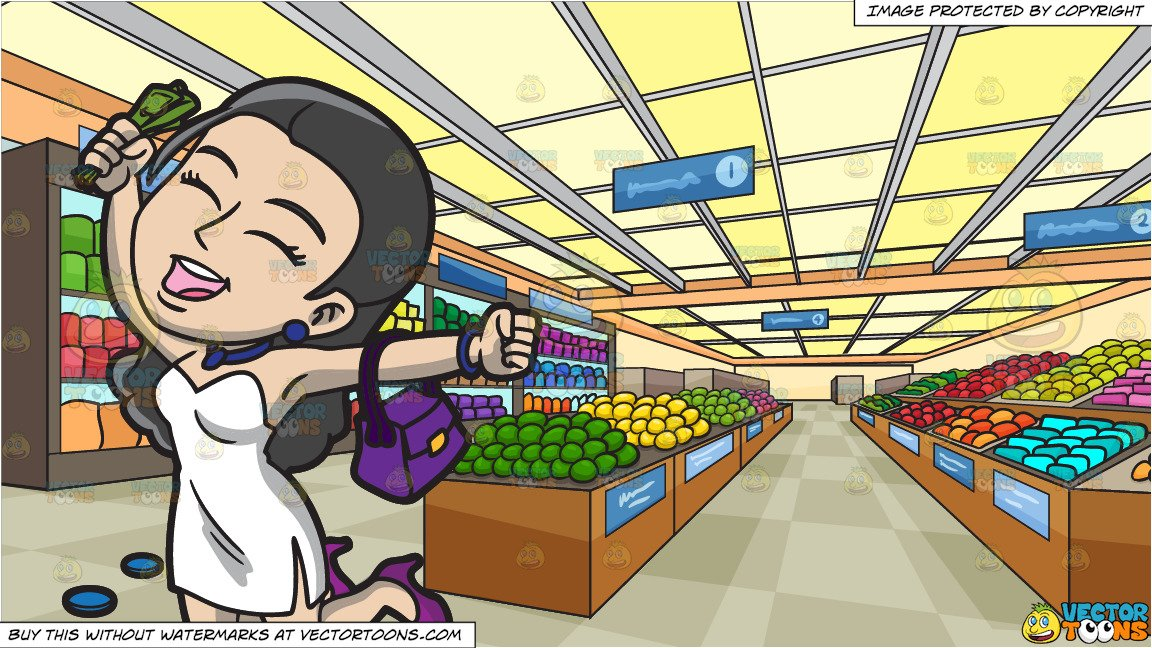 A Woman Winning In A Casino and Inside A Brightly Lit Grocery Store  Background.