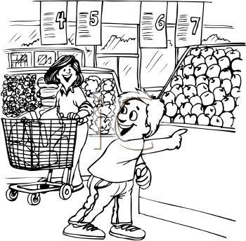Grocery Shopping Clipart Black And White.