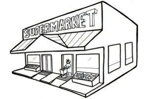 Supermarket Clipart Black And White.