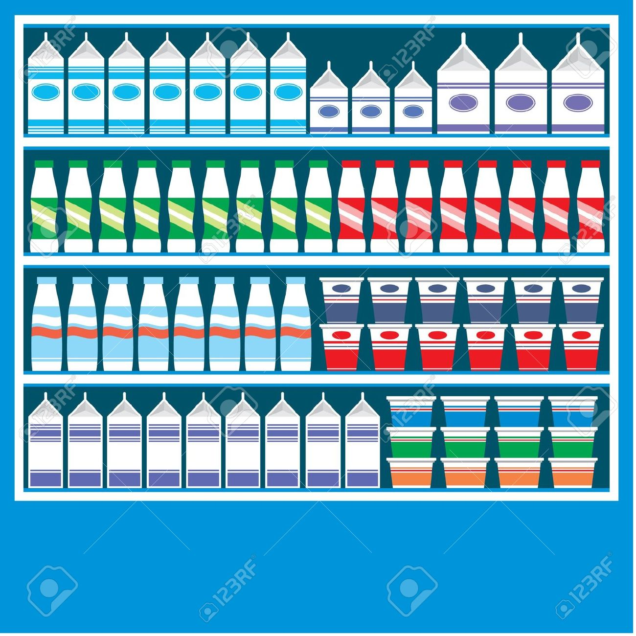 Supermarket Shelves With Dairy Products Royalty Free Cliparts.