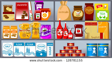 Showing post & media for Grocery shelves clip art cartoon.