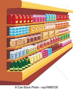 CLIPART FRUITS AND VEGETABLES SHELF.