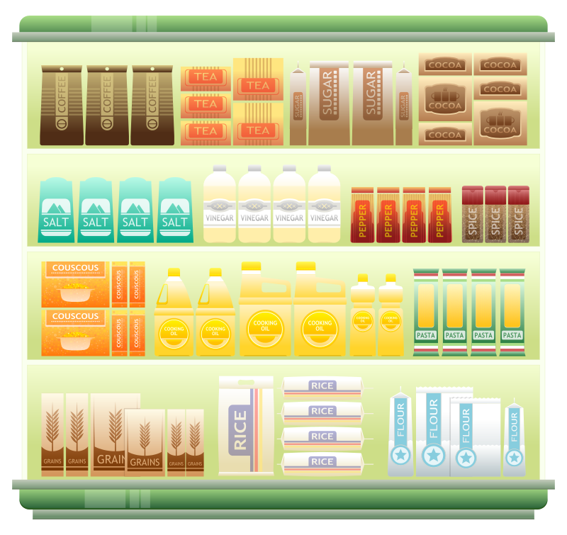 Free Clipart: Supermarket Goods Shelf 1.