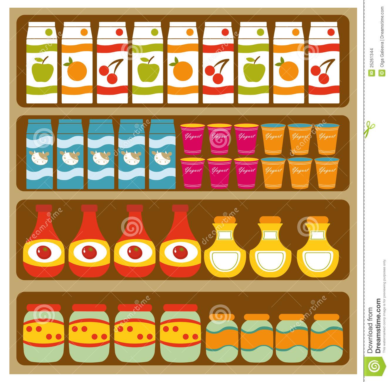 supermarket shelves clipart #16