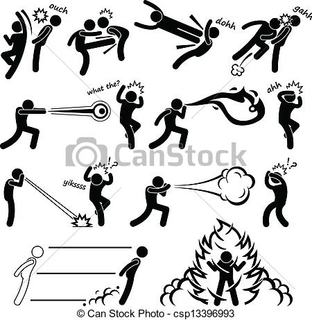 EPS Vectors of Kungfu Fighter Super Power People.