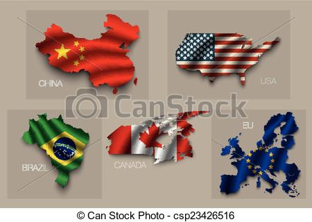 Vector Clip Art of Set of five great states, superpowers.