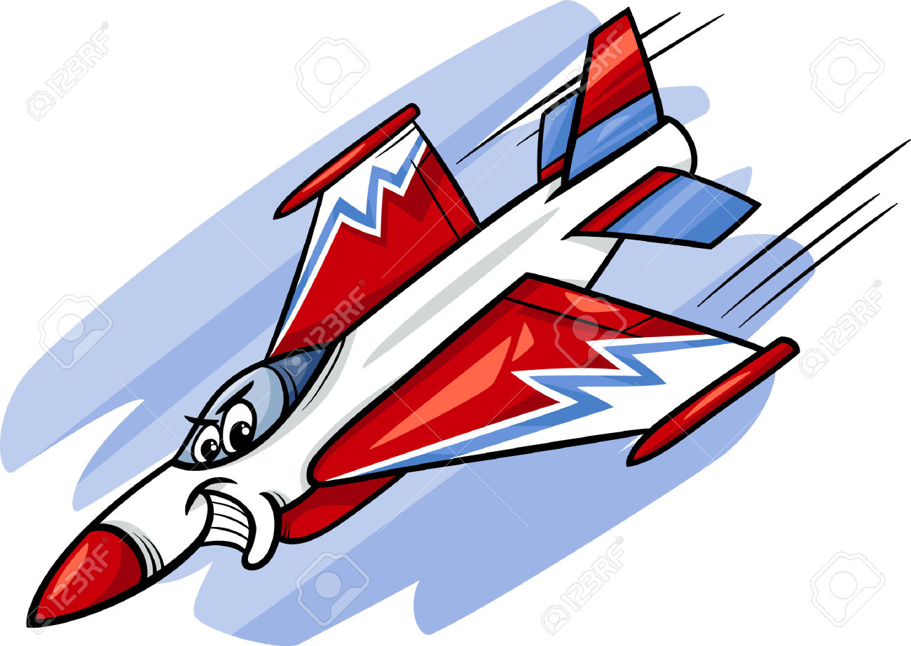 Cartoon Illustration Of Funny Jet Fighter Plane Comic Mascot.