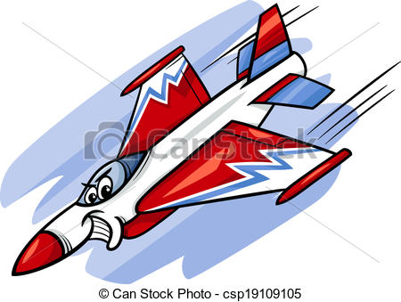 Vector Clipart of jet fighter plane cartoon illustration.